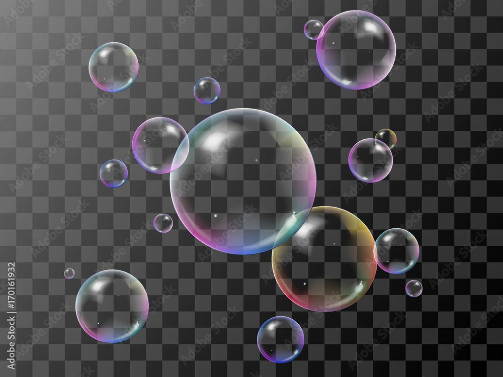 Fototapety, obrazy: Realistic 3d soap bubbles set with rainbow reflection. Vector illustration. Transparent.
