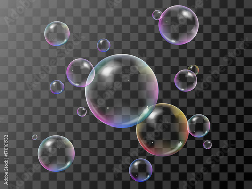 Obraz Realistic 3d soap bubbles set with rainbow reflection. Vector illustration. Transparent. - fototapety do salonu