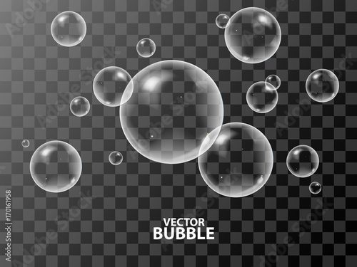 Obraz Realistic 3d soap bubbles with reflection of light. Vector illustration. Transparent. - fototapety do salonu