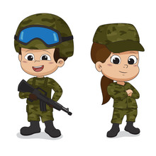 Set Of Soldiers.Cartoon Charac...