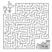 Christmas Maze For Children, Funny Dog Looking For Gifts. Coloring Page. Vector Illustration.