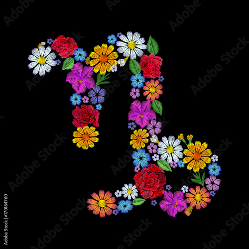 Poster Fleur Capricornus zodiac sign flower arrangement. Horoscope astrology fashion floral embroidery patch design template. Texture stitch effect. Textile print on black background vector illustration