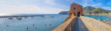 LEVANTO, ITALY, AUGUST 15, 2017 - Panoramic View Of Levanto, La  Spezia Province Near 5 Terre, The Beach And Promenade Full Of People In Summertime.
