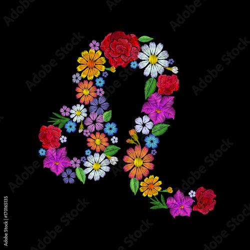 Poster Fleur Leo zodiac sign flower arrangement. Horoscope astrology fashion floral embroidery patch design template. Texture stitch effect. Textile print on black background vector illustration