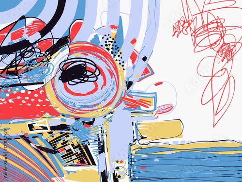 Plakat oryginalny cyfrowy obraz abstrakcyjny, współczesna grafika tekstury