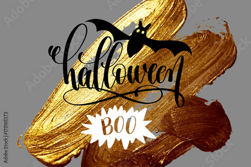 Fényképezés  halloween boo - hand lettering holiday design on golden brush st