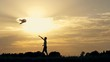 Silhouette of a boy running with a kite on the field at sunset