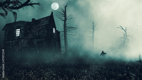 Photo  scary house in mysterious horror forest