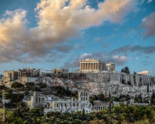 Plakat Partenon, Akropol w Atenach, późne popołudnie