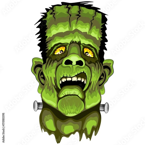Deurstickers Draw Frankenstein Zombie Horror Face