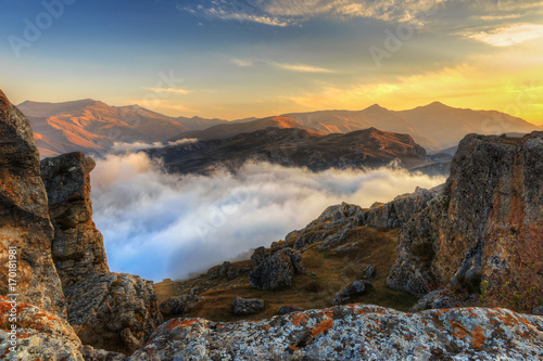 Sunset in the mountains of the village of Gryz.Azerbaijan Canvas Print