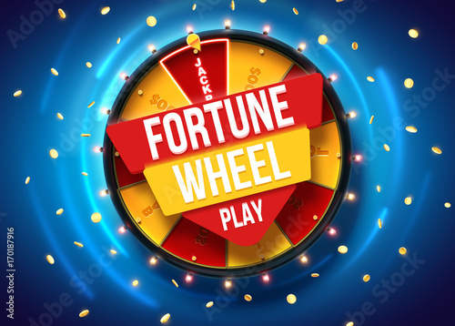 Fotografia vector illustration of wheel of fortune 3d object isolated on blue background pl