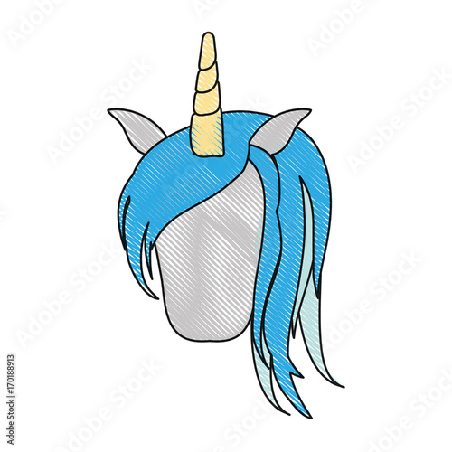 Poster Pony magical unicorn icon over white background colorful design vector illustration