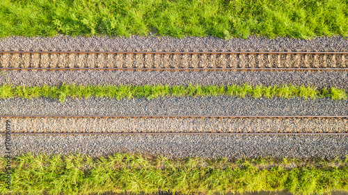 Tuinposter Spoorlijn An aerial view of Railroad tracks
