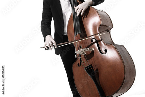 Photo sur Toile Musique Double bass player. Hands playing contrabass