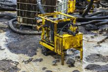 Oil Pump Evacuate Crude Oil Spilled On The Beach