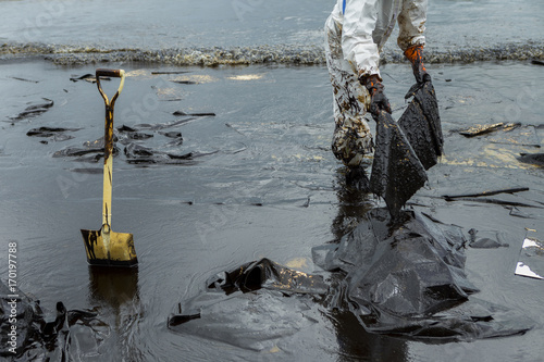 Workers remove and clean up crude oil spilled with absorbent paper Canvas Print