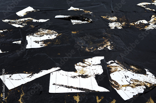 absorbent paper used for lining oil from  crude oil spilled Canvas Print