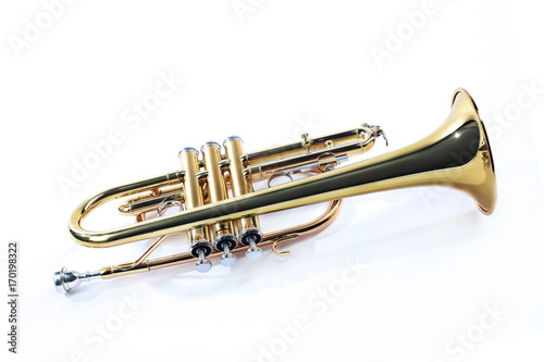 Fototapeten Musik Trumpet isolated cornet. Music trumpet instrument
