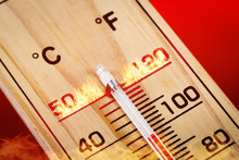 Close-up Wooden Thermometer Sc...