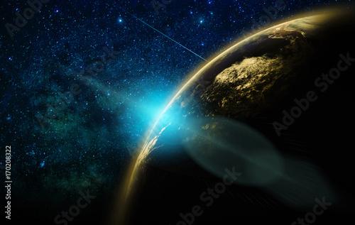 Plakat Część ziemi z wzrostem słońca i obiektyw pochodni na tle Droga Mleczna, koncepcja sieci Internet, elementy tego obrazu dostarczone przez NASA