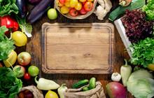 Around The Kitchen Board Abundance Healthy Food On Wooden Table