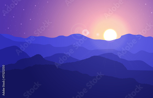 Deurstickers Violet View of the mountain landscape with hills under a purple sky with sun and stars. Vector illustration.