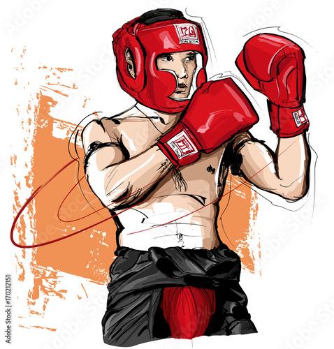 Tuinposter Art Studio Thai boxing man fighting