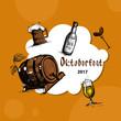 Oktoberfest Beer Festival Holiday Decoration Banner Flat Vector Illustration