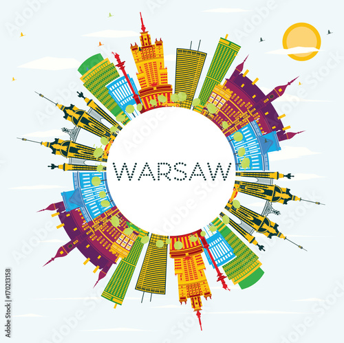 Warsaw Skyline with Color Buildings, Blue Sky and Copy Space. Poster