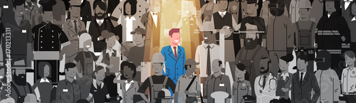Photo Businessman Leader Stand Out From Crowd Individual, Spotlight Hire Human Resourc