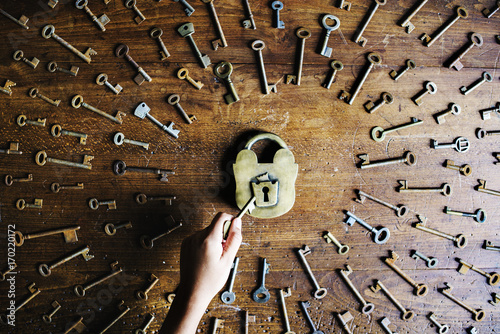 A key is around a lock Poster