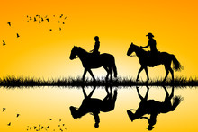 Two Riders On Horses Standing ...