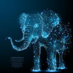 Słoń na białym tle z low poly wireframe na ciemnym tle. Wektor wielokątny obraz w postaci rozgwieżdżonego nieba lub przestrzeni, składający się z punktów, linii i kształtów w postaci gwiazd i wszechświata