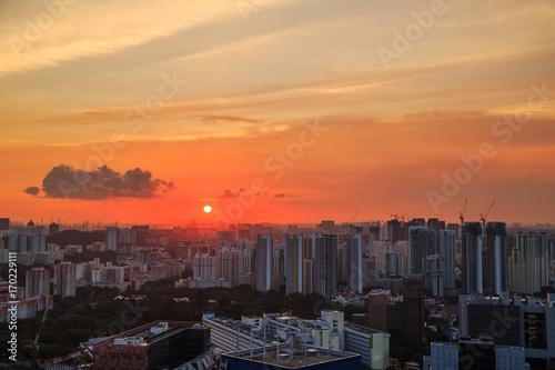 Photo  cityscape of Singapore city at sunset