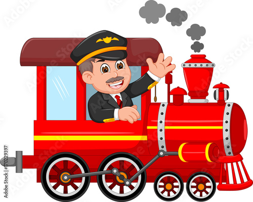cheerful cartoon train with smile conductor waving buy Train Conductor Silhouette Train Conductor Cartoon