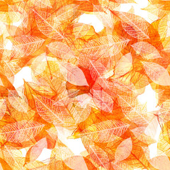 FototapetaSeamless watercolor pattern of golden autumn leaves