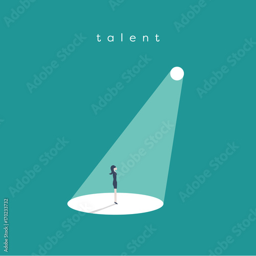 Tuinposter Licht, schaduw Business recruitment or hiring vector concept. Looking for talent. Businesswoman standing in spotlight or searchlight looking for new career opportunities.