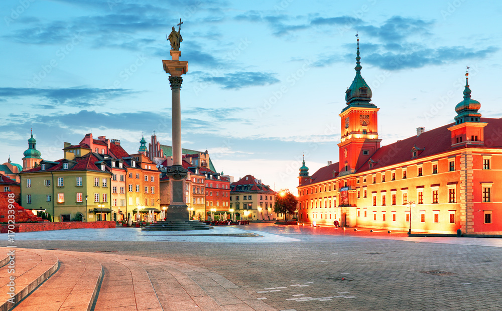 Fototapety, obrazy: Panorama warszawskiego starego miasta, Polska