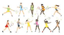 Tennis Athletes Set.