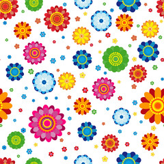 Floral pattern made in flowers on a white background, seamless illustration.