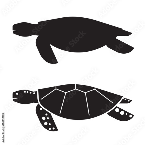 Sea Turtle Vector Ilration In Outline Design Logo Or Label Template Silhouette Icon