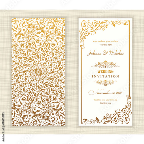 Fototapeta Wedding Invitation Cards Baroque Style Gold Vintage Pattern Retro Victorian Ornament Frame With Flowers Elements Vector Illustration