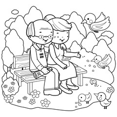 Senior couple at the park. Coloring book page
