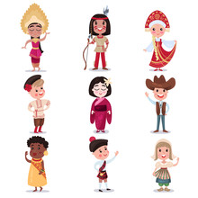 Kids In National Costumes Of D...