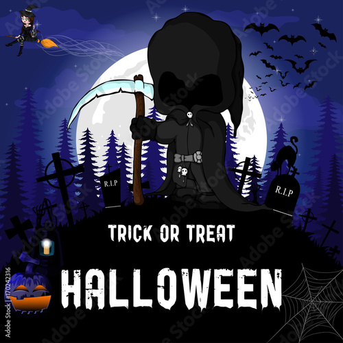 halloween party design template with witch dark peaper pumpkin