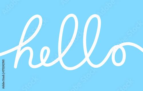 Obraz na plátne Hello word, calligraphy design, blue background vector illustration