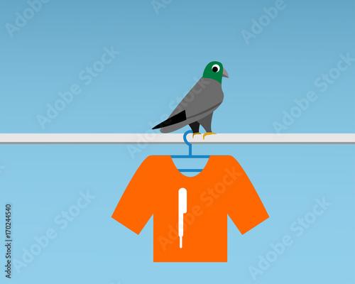 Bad Pigeon Bird shit on t-shirt , vector Fototapet