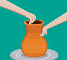 Potter Making A Pottery, Vector
