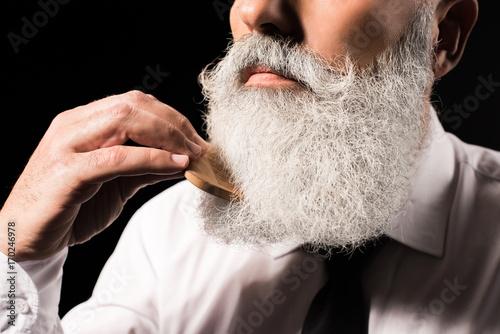 Valokuva man combing long beard